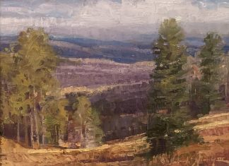 Trey Finney Colorful Meadow mountain tree landscape oil painting