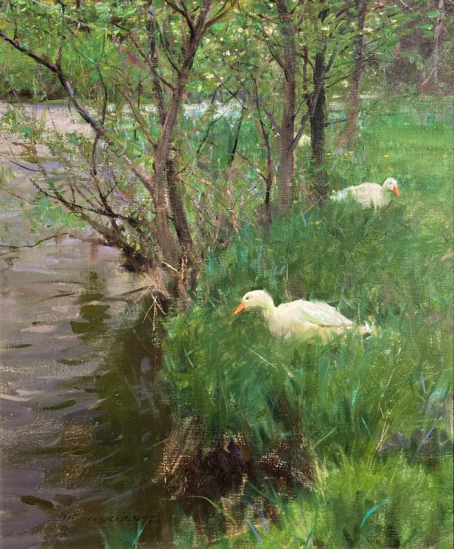 Spring Kerry's Creek duck goose geese stream river landscape wildlife oil painting