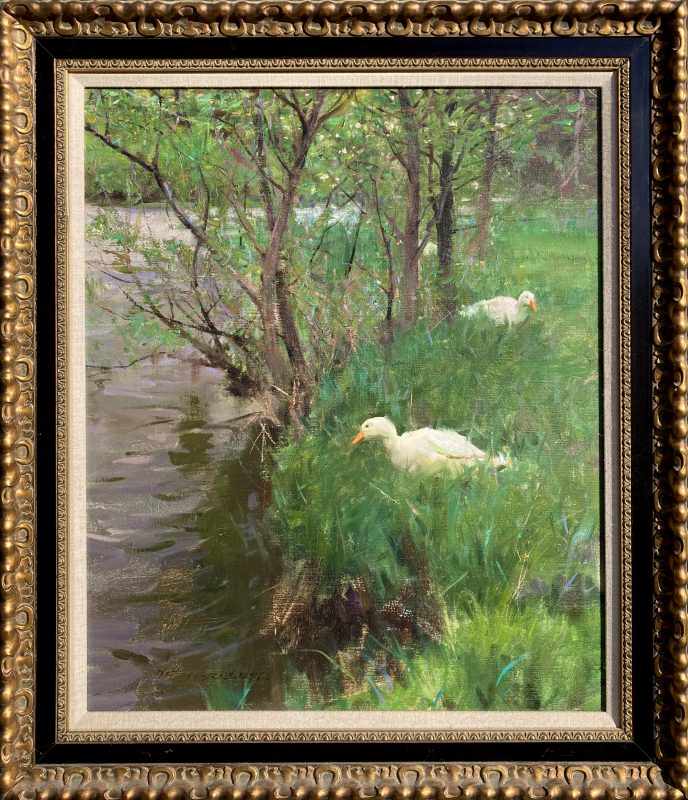 Spring Kerry's Creek duck goose geese stream river landscape wildlife oil painting framed