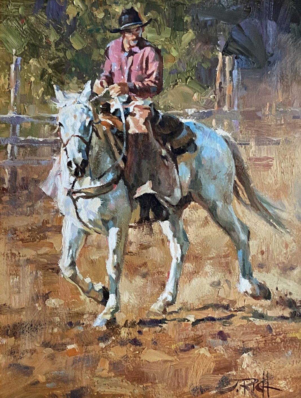 Jason Rich Double E Cowboy horse horseback ranch western oil painting