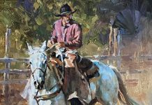 Jason Rich Double E Cowboy horse horseback ranch western oil painting