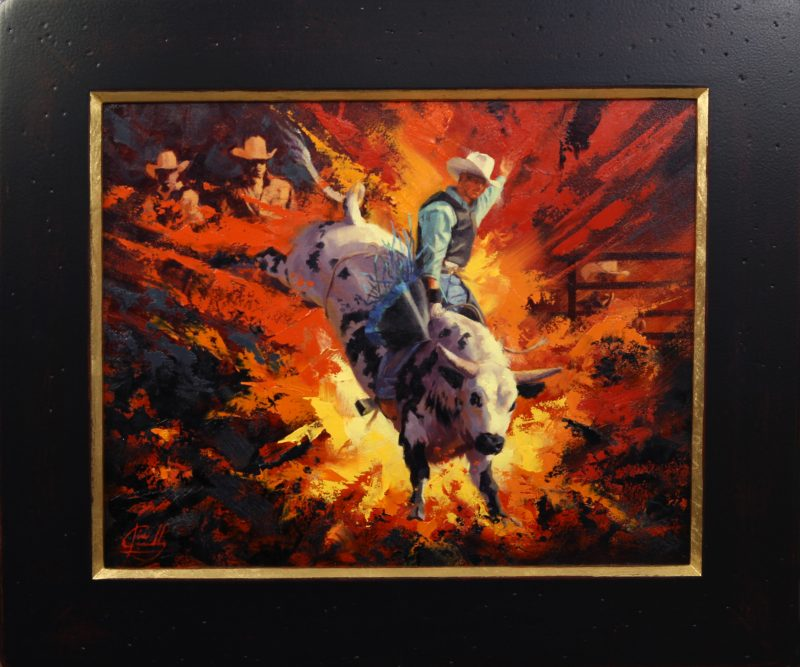 Jim Connelly Bullistic bull rider rodeo cowboy action western oil painting framed