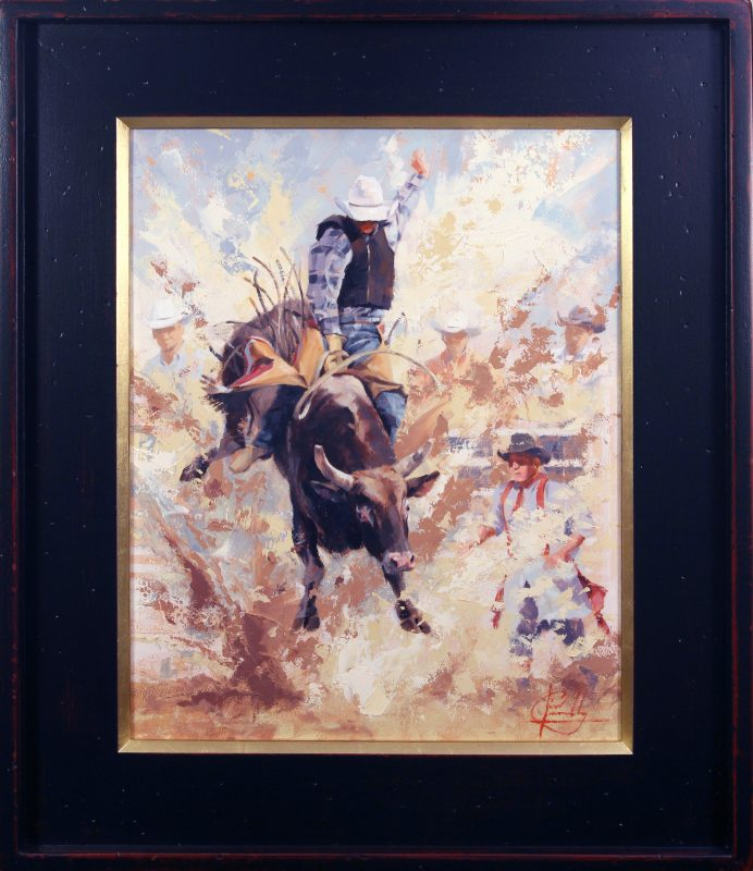 Jim Connelly Dustup cowboy bull rodeo action western oil painting framed