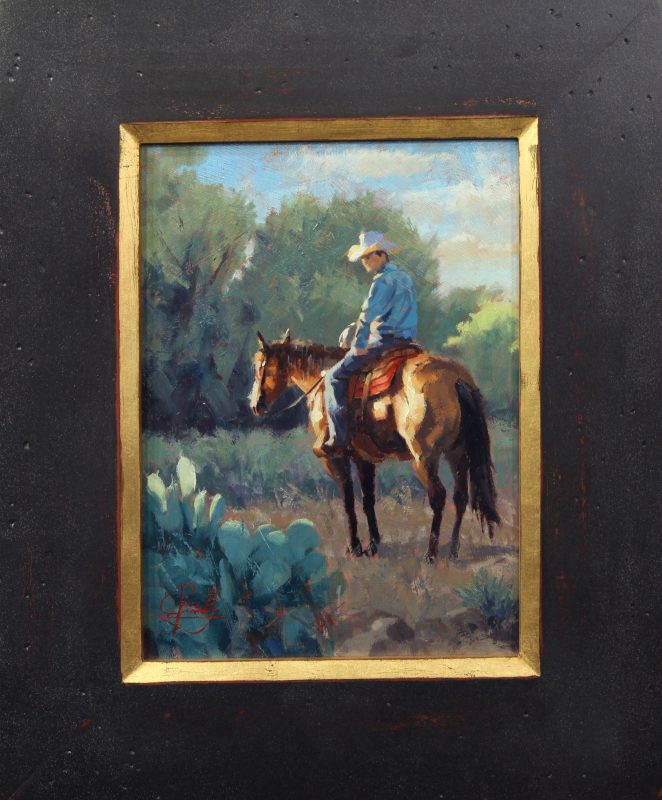 Jim Connelly Evening Sun cowboy cactus horse western landscape oil painting framed