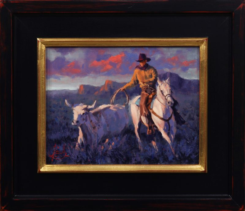 Jim Connelly Last Round cowboy horse cattle longhorn rope roping sunset western oil landscape painting framed