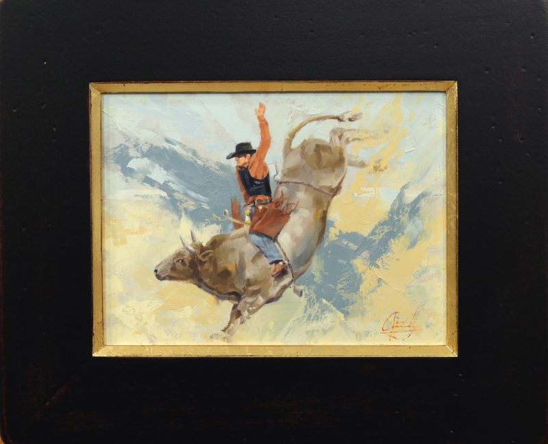 Jim Connelly Lot Of Bull cowboy rodeo bucking action western oil painting
