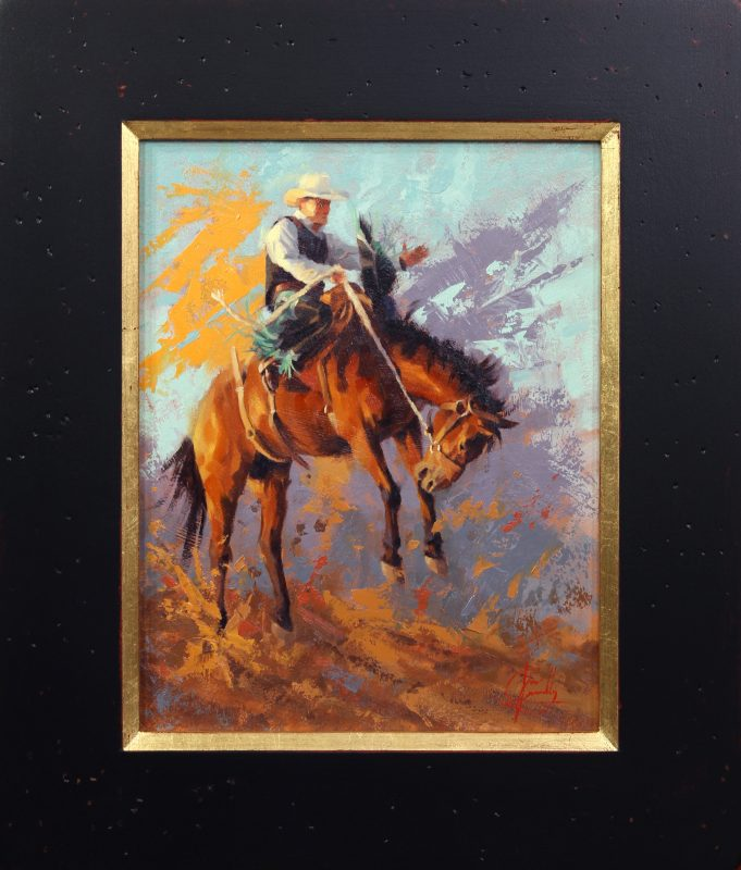 Jim Connelly Mean Streak buck horse cowboy action western oil painting framed