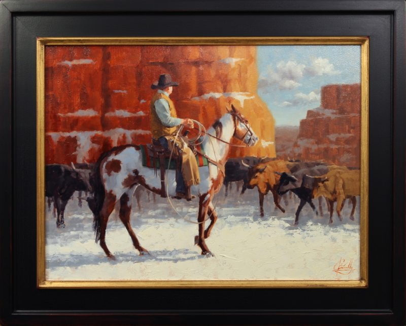 Jim Connelly Sedona Snow cowboy snow mountains red rocks horse cattle cow western oil painting