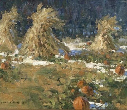 Loren Entz Early Snow pumpkins hay snow landscape oil painting