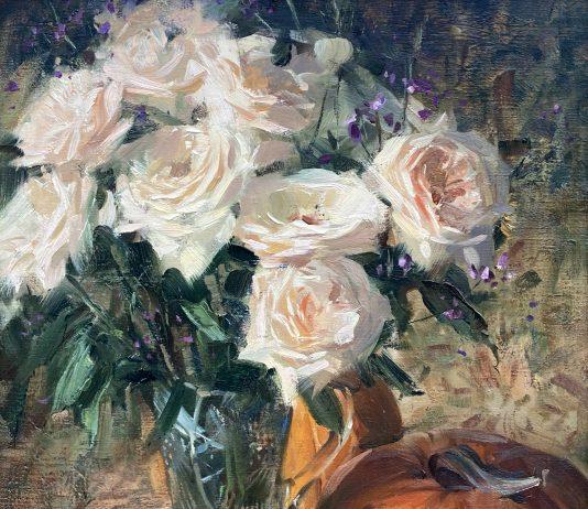 Loren Entz Peach Roses Pumpkins still life floral flowers oil painting