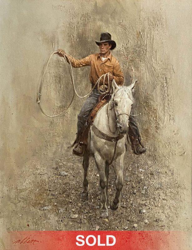 Robert Abbett The Roper cowboy horseback horse roping western oil painting sold