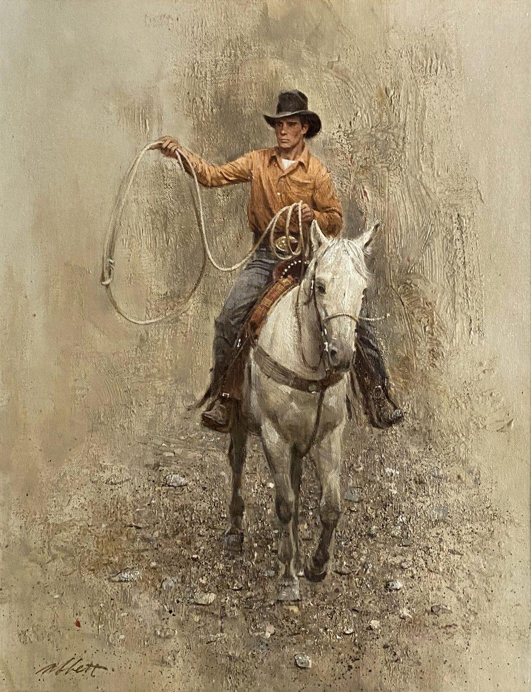 Robert Abbett The Roper cowboy horseback horse roping western oil painting