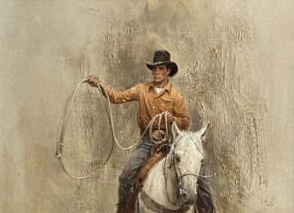 Robert Abbett The Roper cowboy horseback horse roping western oil painting
