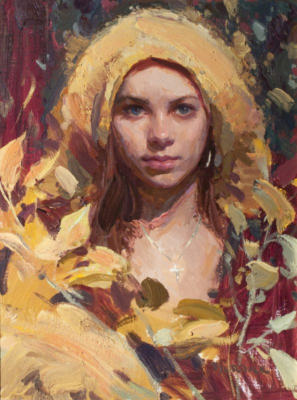 Scott Burdick Morning In Yellow oil painting portrait woman girl necklace impressionist figure painting