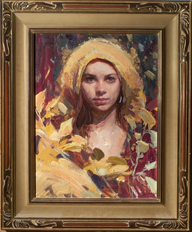 Scott Burdick Morning In Yellow oil painting portrait woman girl necklace impressionist figure painting framed