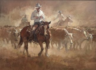 Suzanne Baker Carved In Dust cowboy cows bovine western acrylic painting