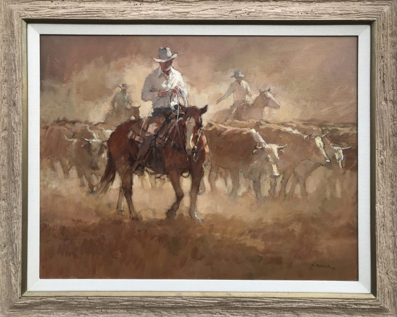 Suzanne Baker Carved In Dust cowboy cows bovine western acrylic painting framed