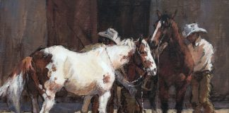 First Thing Monday Morning paint horse cowboy corral western acrylic painting