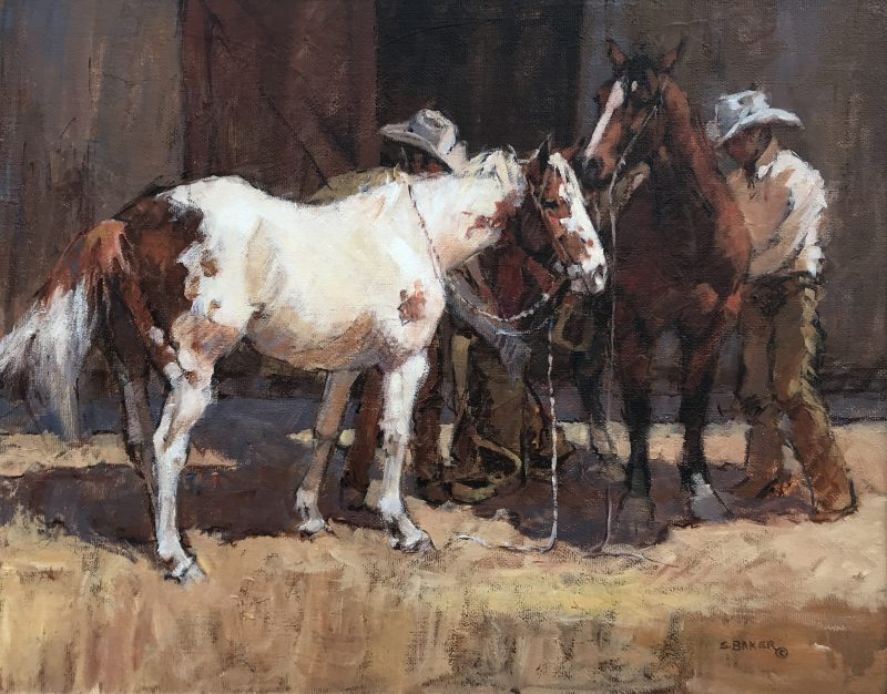 Suzanne Baker First Thing Monday Morning paint horse cowboy corral western acrylic painting