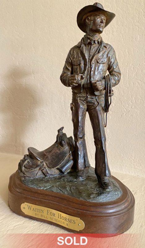 Bill Nebeker Waitin For Horses cowboy saddle ranch western bronze sculpture