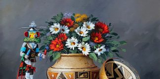 Rose Ann Day Native Treasures still life painting Native American pottery Papago basket oil painting