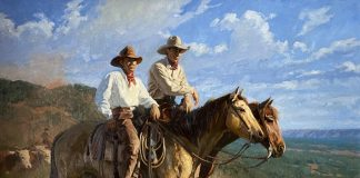 Bruce Greene Caprock Cowboys horses cattle cow open range western oil painting