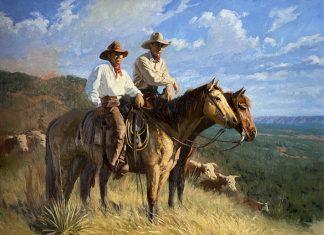 Bruce Greene Caprock Cowboys horses cattle cow open range western oil painting