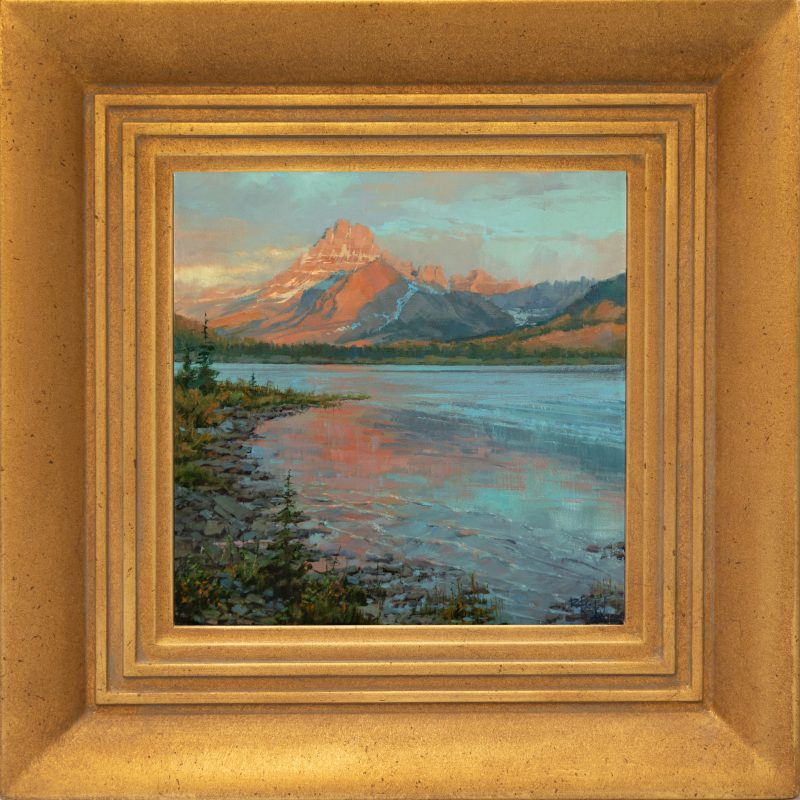 Darcie Peet Drifting Dawn Storm mountain lake river trees snow western oil landscape painting framed