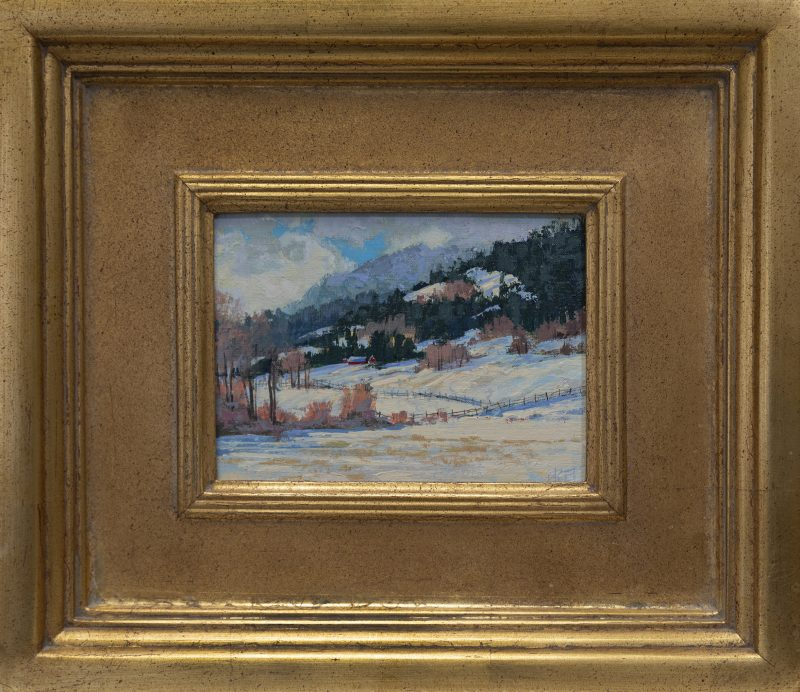 Darcie Peet Welcome Breath of Sunshine snow hills mountains western acrylic landscape painting framed