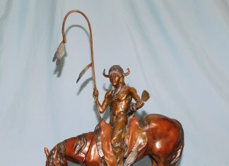 Dustin Payne The Messenger Native American western bronze sculpture