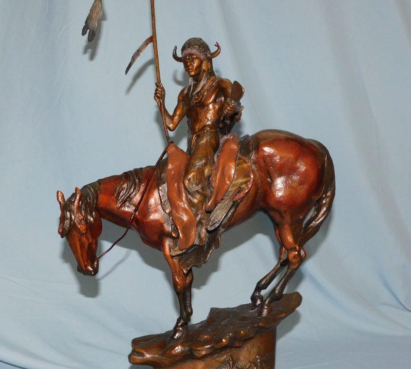 Dustin Payne The Messenger Native American western bronze sculpture close up