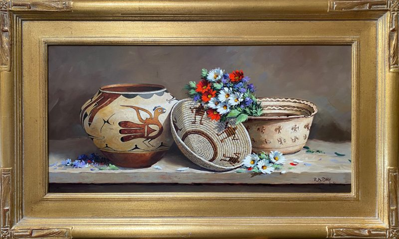 Rose Ann Day Ageless Abundance Native American still life painting artifacts pottery basket Acoma Pueblo Hohokam western oil painting framed