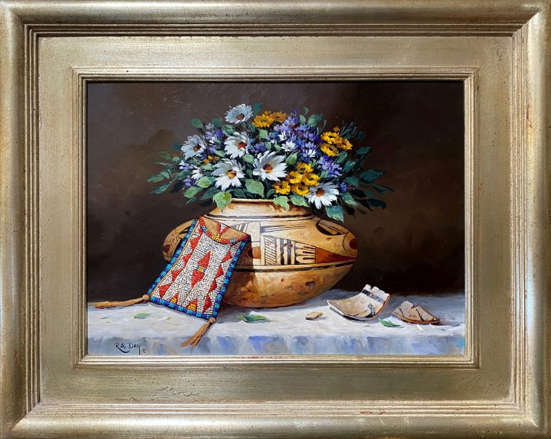 Rose Ann Day Remnants Of The Day Native American still life pottery beaded bag daisy daises flowers western oil painting framed