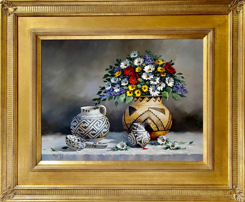 Rose Ann Day Vibrant Jewels Native American still life pottery flowers daisy western oil painting framed