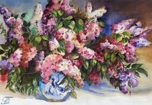 Sarvenaz Sadrieh Colorful Still Life flower floral watercolor painting