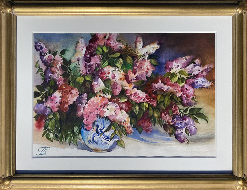 Sarvenaz Sadrieh Colorful Still Life flower floral watercolor painting framed
