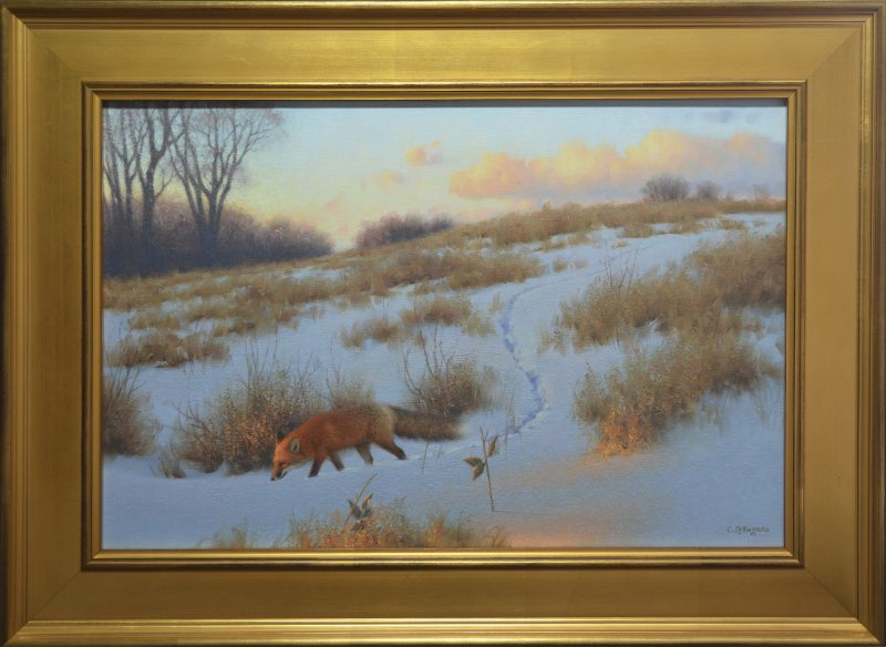 Claudio D'Angelo The Evening Rounds red fox wildlife oil painting snow sunset framed
