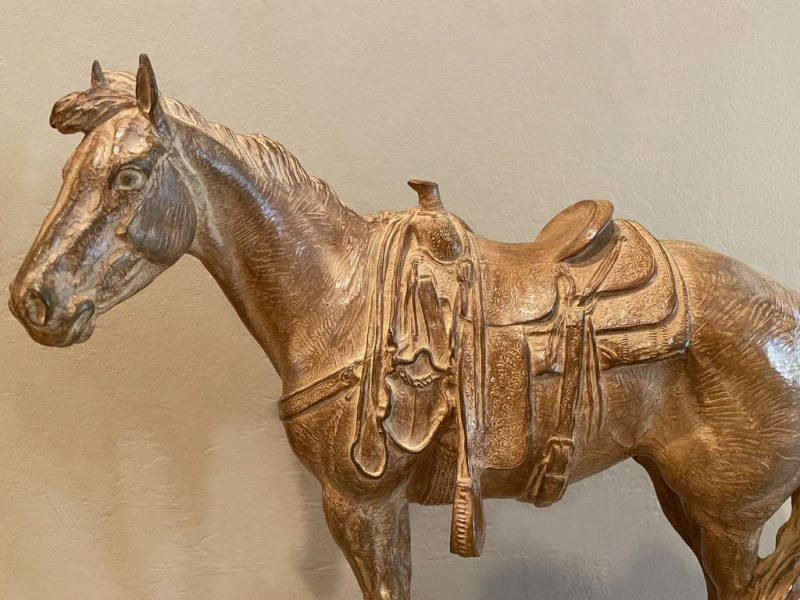 Mehl Lawson Sixes Sunrise horse cow horse Cowboy Artists of America western bronze sculpture close up