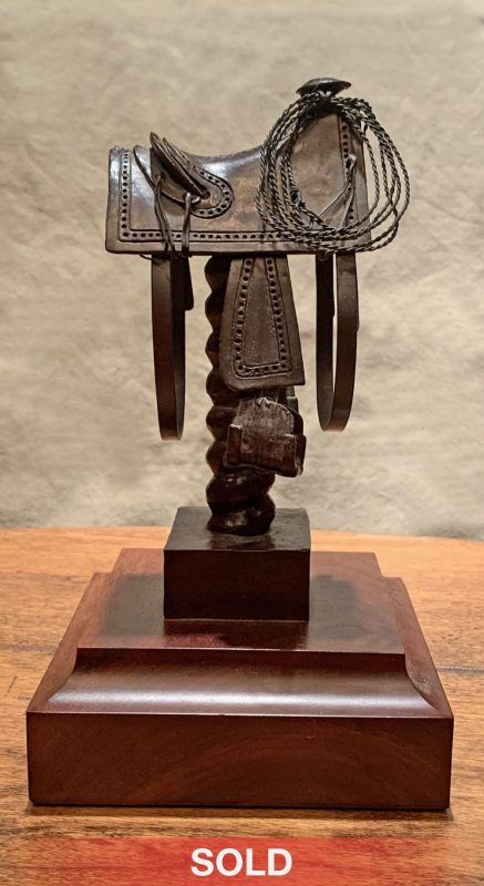 Rogers Aston Texas Saddle Circa 1860 cowboy saddle western bronze sculpture sold