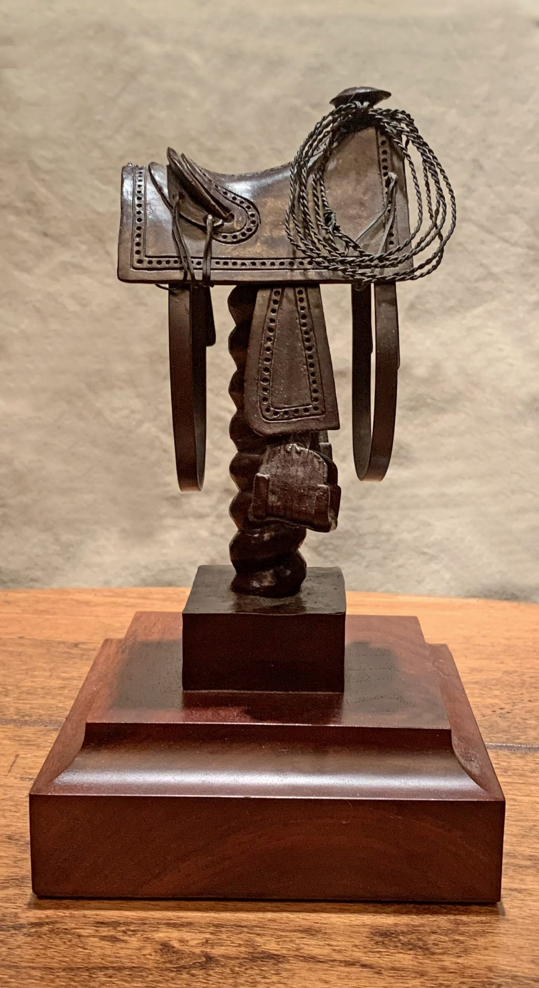 Rogers Aston Texas Saddle Circa 1860 cowboy saddle western bronze sculpture
