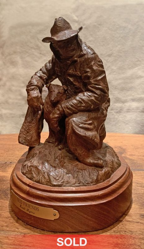 Scott Myers Old Friends cowboy dog bronze western sculpture side