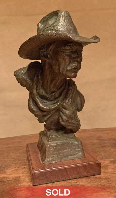 Scott Myers To The Catchpin cowboy bust western bronze sculpture sold