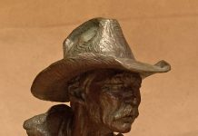 Scott Myers To The Catchpin cowboy bust western bronze sculpture