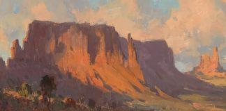 Bill Cramer Shadows On Sentinel Mesa landscape oil painting southwest desert mountain