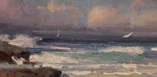 Calvin Liang High Tides seascape ocean beach crashing waves landscape oil painting
