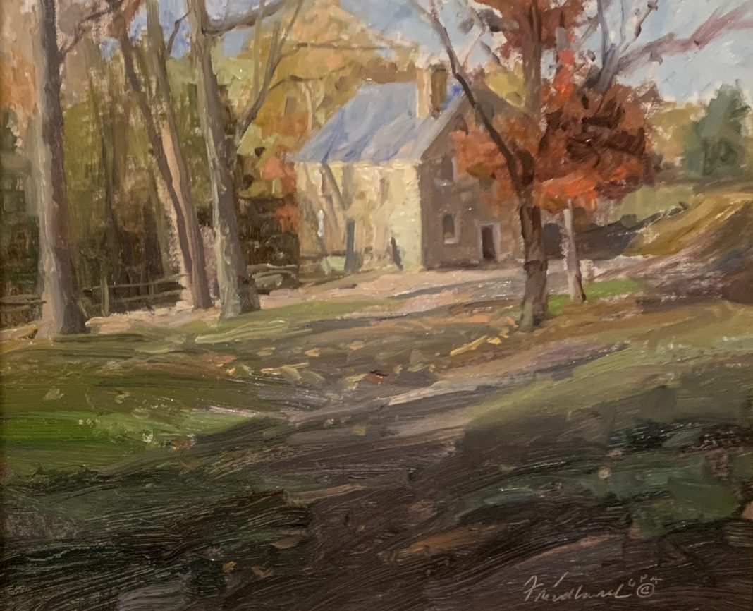 Howard Friedland At The Copper Mill landscape building architecture barn country house fall autumn impressionistic oil painting