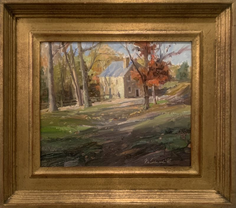 Howard Friedland At The Copper Mill landscape building architecture barn country house fall autumn impressionistic oil painting framed