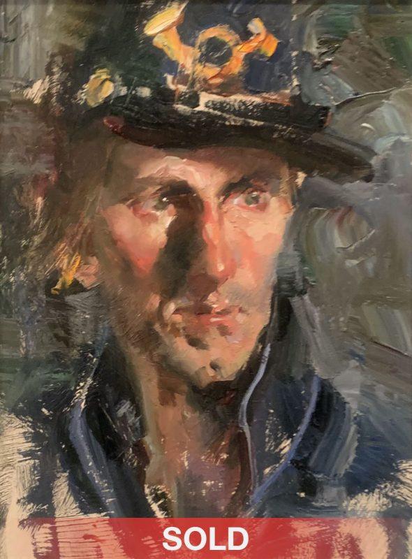 Jeffrey Watts Union Bugler portrail man impressionistic oil painting sold