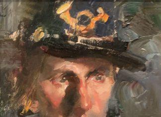 Jeffrey Watts Union Bugler portrail man impressionistic oil painting