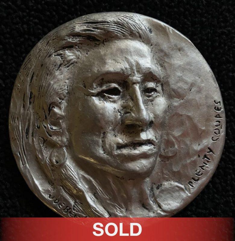 Joe Beeler medallion Plenty Coupes sculpture pewter Native American sold